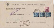 ITALIA 1950 2OL+5LX3 DEMOCRATICA SU LETTERA RACCOMANDATA STAMPATI PER USCIO