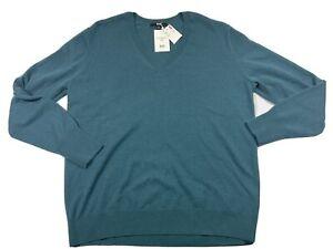 NWT UNIQLO Womens Green Blue 100% Cashmere Sweater Long Sleeve XXL 2X V Neck
