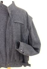 XXL Bomber Jacket Boiled Wool Gray Made in Argentina Size 50 Zipper Front