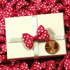 """20ct. Tiny Red & White Polka Dot Grosgrain Bow Ties 1-3/8"""" x 7/8"""" Craft Supply"""