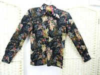 VINTAGE Oriental jersey floral blouse retro black stretchy boho shirt top S/XS