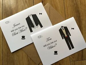 Personalised Will you be My Best Man, Our Usher, Page Boy - Wedding Invite, Card