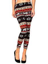 Womens Ladies Reindeer and Snowflake Patterned Print Warm Legging Pants