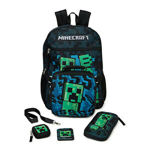 """Minecraft Creeper Kids Backpack 17"""" with Lunchbox 5-Piece Set Pencil Earbud Case"""