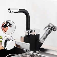 360° Swivel Kitchen Sink Mixer Taps Black Pull Out Spray Bidet Head Tap & 2 Hose