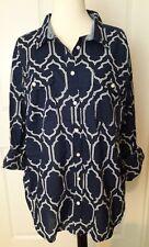 New Top Blouse Womens Blue White sz XL long sleeve Fence Chevron Print $36