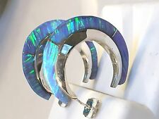 WOW~ LARGE Bright BLUE FIRE OPAL Hoop Earrings Sterling Silver 925 slice