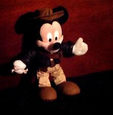 "Stuffed Animal Disneyland Adventurer Mickey Mouse 10"" Tall Hat Jacket Bag Pants"