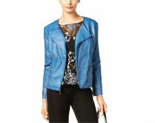 Alfani Women's Faux Leather Moto Jacket  Global Blue Soft Touch Motorcycle Sz S