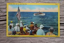 Fishing Party on the Deep Blue Sea Patriotic Linen Postcard Flag Beer Boat Ocean
