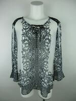 Fig and Flower Women M Polyester Floral Sheer Lace Trim Black White Blouse Top