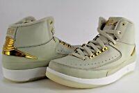Nike Air Jordan Retro II 2 Q54 Quai 54 Light Bone Metallic Gold White Size 6.5