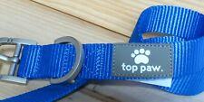 "TOP PAW Dog Collar BRIGHT BLUE New! MEDIUM 14""-18"" Adjustable STEEL Hook/Buckle"