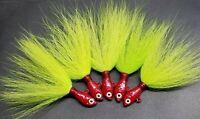 5 Striper Fluke Bass Ultra Minnow Economy Bucktail Jig Head Teaser Lure - Rd/Ch