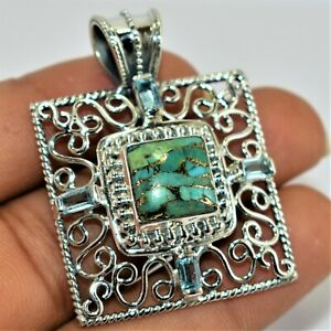 Natural Copper Blue turquoise & Blue Topaz Pendant 92.65 Sterling Silver  2""