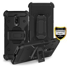 For OnePlus 6T Shockproof Armor Belt Clip Holster Hard Case Cover+Tempered Glass