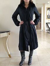 Prada Women's Black Long Coat With Dyed Beaver Collar In Size 42 Italian 4-6 USA