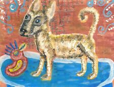 Chihuahua Taking a Bath Pop Folk Art Print 8x10 Signed by Artist Dog Collectible