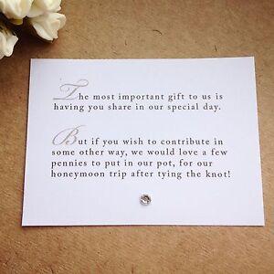 105 X Custom Wedding Poem Cards For Invitations - Money Cash Gift Honeymoon