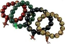 BUDDHA BRACELETS SET OF FOUR / TWO WOODEN AND TWO RESIN BEADS