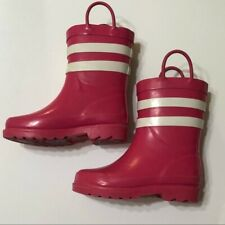 Rain Boots Sz 9 10 Pink with White Stripes