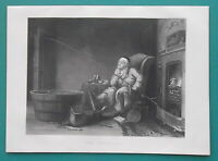 FISHING ENTHUSIAST Fish Tank Inside Cottage - 1850 SUPERB Antique Print