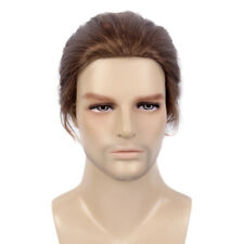 Men Bun Wigs Male Natural Brown Short Layered Cosplay Synthetic Hair Party Daily
