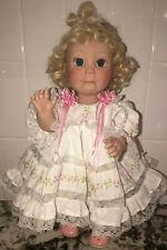 """Lee Middleton girl doll Blonde Blue Eyes Ruffled Dress signed 15"""" 090786-V91"""