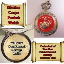 "CUSTOM Personalized USA Marine Corps Military Pocket Watch & 31"" Chain"