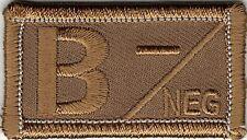 Desert Brown / Tan Blood Type B- Negative Patch VELCRO® BRAND Hook Fastener Comp