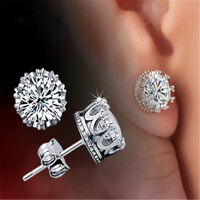 Unisex Men Women Silver Crystal Rhinestone Crown Charm Ear Studs Earrings Gift