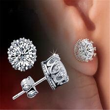 Fashion Men Women Crystal Crown Charm Earrings Silver Ear Studs Jewelry Gift