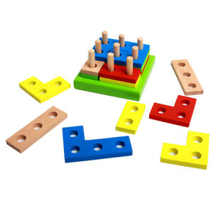 Geometry Puzzle Toy Educational Building Stacking Blocks Wooden Shape Puzzle