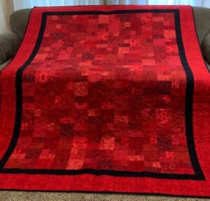 "Homemade Red Quilt  60"" x 72"""