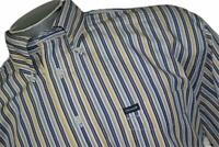 16397-a Mens Faconnable Dress Shirt Size XL Yellow Blue Striped