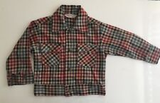 Vintage HEALTHTEX Boys Sz 4T Red Blue Brown Checkered Jacket w/Snaps