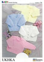 VAT Free Hand Knitting PATTERN ONLY DK Baby Child Cardigans Jumpers UKHKA34 New