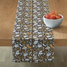 Table Runner Terrazzo Mosaic Pebbles Stone Texture Abstract Nature Cotton Sateen