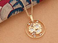 "California U.S.State Cut Coin Pendant Necklace 7//8/"" #2031"