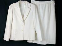 2 PIECE VINTAGE HAND MADE IN US 100% LINEN IVORY DRESS SUIT BLAZER & SKIRT 10 ?