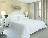 Plain Dyed White Frilled Edge Duvet Quilt Cover With Pillowcase Bedding Set UK