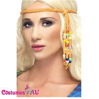 70s 60s Disco Hippie Hippy Headpiece Beaded 1960s Ladies Hair Band Headband