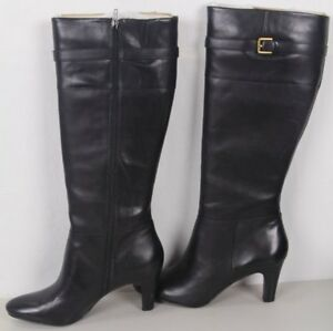 Lauren Ralph Lauren Suise Black Leather Knee High Boots NWT