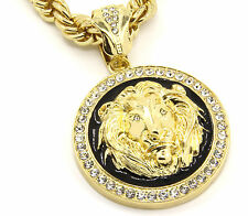 "Mens Gold Plated with Black Lion Face Iced Out Pendant 30"" Necklace Rope Chain"