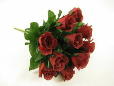 32cm Artificial Silk Flowers 14 Heads Rose Bud Floral Bunch with Rose Leaves