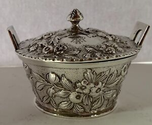 EARLY S KIRK & SON 11OZ  1889-96 REPOUSSE STERLING MINI BUTTER TUB OR MUSTARD