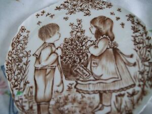 Tribute to Mom's by Narma Sherman Boy/ Girl in the Garden Broken China Focal