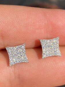 Real 925 Sterling Silver Iced Diamond Hip Hop Square Kite Earrings Bust Down Ice