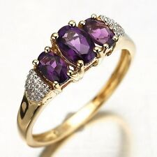 Princess Cut Amethyst 18K Gold Filled Woman Fashion Wedding Ring Size 6-10