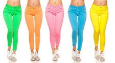 Jeans donna skinny pantaloni colori neon elasticizzati cotone nuovo